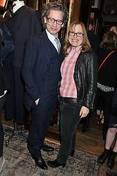 DEXTER FLETCHER and LIZ MANNE Director of FilmAid at a reception hosted by Ralph Lauren Double RL and Dexter Fletcher before a private screening of Wild Bill benefitting FilmAid held at RRL 16 Mount Street, London on 26th March 2012.