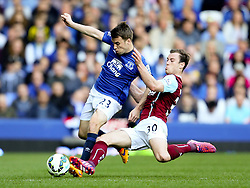 Burnley's Ashley Barnes receives a second yellow card and is sent off for a late challenge on Everton's Seamus Coleman  - Photo mandatory by-line: Matt McNulty/JMP - Mobile: 07966 386802 - 18/04/2015 - SPORT - Football - Liverpool - Goodison Park - Everton v Burnley - Barclays Premier League
