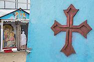 Calais, Pas-de-Calais, France - 16.10.2016    <br />     <br />  Christian church of Eritrean refugees in the &rdquo;Jungle&quot; refugee camp on the outskirts of the French city of Calais. Many thousands of migrants and refugees are waiting in some cases for years in the port city in the hope of being able to cross the English Channel to Britain. French authorities announced that they will shortly evict the camp where currently up to up to 10,000 people live.<br /> <br /> Christliche Kirche von Fluechtlingen aus Eritrea im &rdquo;Jungle&rdquo; Fluechtlingscamp am Rande der franzoesischen Stadt Calais. Viele tausend Migranten und Fluechtlinge harren teilweise seit Jahren in der Hafenstadt aus in der Hoffnung den Aermelkanal nach Gro&szlig;britannien ueberqueren zu koennen. Die franzoesischen Behoerden kuendigten an, dass sie das Camp, indem derzeit bis zu bis zu 10.000 Menschen leben K&uuml;rze raeumen werden. <br /> <br /> Photo: Bjoern Kietzmann