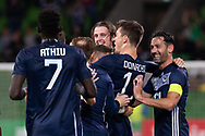 MELBOURNE, AUSTRALIA - APRIL 23: Melbourne Victory celebrate the goal during the AFC Champions League Group Stage match between Melbourne Victory and Guangzhou Evergrande at AAMI Park on April 23, 2019 in Melbourne, Australia. (Photo by Speed Media/Icon Sportswire)