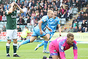 Ryan Broom celebrates scoring the 2nd goal  during the EFL Sky Bet League 2 match between Plymouth Argyle and Cheltenham Town at Home Park, Plymouth, England on 21 September 2019.