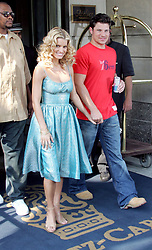 U.S. Singer, Jessica Simpson and husband Nick Lachey leave the Ritz Carlton hotel to go to the 'Regis and Kelly' TV show to promote her latest movie 'The Dukes of Hazzard', afterwards they went to lunch at the restaurant 'Isabell's in New York, NY on August 4, 2005. Photo by Charles Guerin/ABACA  | 82110_01 New York City