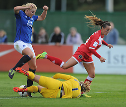 Bristol Academy's Natasha Harding gets tackled by Everton ladies Rachel Finnis Brown - Photo mandatory by-line: Alex James/JMP - Mobile: 07966 386802 23/08/2014 - SPORT - FOOTBALL - Bristol  - Bristol Academy v Everton Ladies - FA Women's Super league