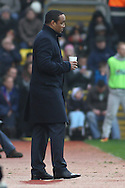 Picture by David Horn/Focus Images Ltd +44 7545 970036.09/03/2013.Paul Ince , Manager of Blackpool looks on with a hot drink during the npower Championship match at Vicarage Road, Watford.