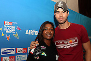 Kass Naidoo and Enrique Iglesias during the Airtel CLT29 Press Conference with Enrique Iglesias held at the Sandton Sun Hotel in Johannesburg on the 9 September 2010 as part of the build up to the Champions League T20 tournament being held in South Africa between the 10th and 26th September 2010..Photo by: Ron Gaunt/SPORTZPICS/CLT20