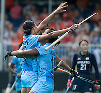 ANTWERP -  India celebrates. Rani Rani (l) has scored 1-0   during  the hockeymatch  India vs Japan  for the 5th place .  WSP COPYRIGHT KOEN SUYK