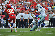 KANSAS CITY, MO - SEPTEMBER 15:  Kicker Dan Bailey of the Dallas Cowboys kicks a 51-yard field goal against the Kansas City Chiefs during the first half on September 15, 2013 at Arrowhead Stadium in Kansas City, Missouri.  (Photo by Peter Aiken/Getty Images) *** Local Caption *** Dan Bailey