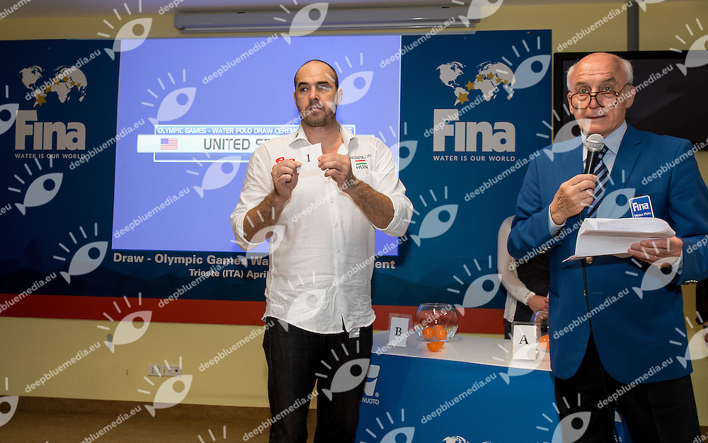 Men's draw for Olympic games <br /> FINA Men's Water polo Olympic Games Qualifications Tournament 2016<br /> Trieste, Italy - Swimming Pool Bruno Bianchi<br /> Day 08  10-04-2016<br /> Photo G.Scala/Insidefoto/Deepbluemedia