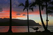 Sunset, Princeville, Hanalei Bay, Kauai, Hawaii<br />