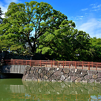 North Gate at Sunpu Castle in Shizuoka, Japan<br /> Sunpu Castle has several Japanese names including Sunpu-jō, Fuchū-jō and Shizuoka-jō. The most descriptive English version is Castle of the Floating Isle because, during the 17th century, the fortress was encircled by three moats. This style of concentric rings is called rinkaku. The design was exceptionally expensive so rare in Japan. Two of the deep defensive waterways remain. This is the innermost moat at North Gate. Half of this footbridge was reconstructed in stone. The original was wooden.