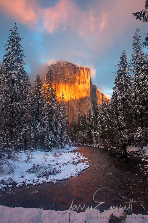 Winter Sunset light on El Capitan along the Merced River