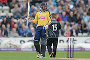 James Vince reaches 50 during the NatWest T20 Blast Quarter Final match between Worcestershire County Cricket Club and Hampshire County Cricket Club at New Road, Worcester, United Kingdom on 14 August 2015. Photo by David Vokes.