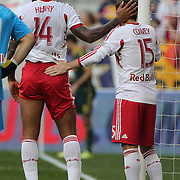 Thierry Henry, (left) and Bobby Convey, New York Red Bulls, during the New York Red Bulls Vs Portland Timbers, Major League Soccer regular season match at Red Bull Arena, Harrison, New Jersey. USA. 24th May 2014. Photo Tim Clayton