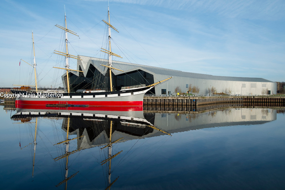 view of new Riverside Museum of Transport and ship Glenlee in Glasgow Scotland UK Architect Zaha Hadid