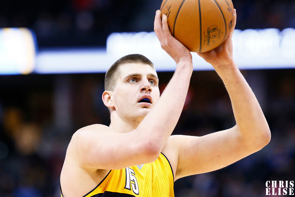 04 March 2017: Denver Nuggets forward Nikola Jokic (15) is seen at the free throw line during the Charlotte Hornets 112-102 victory over the Denver Nuggets, at the Pepsi Center, Denver, Colorado, USA.