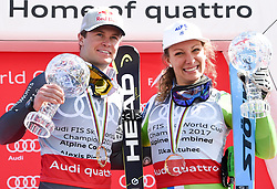 17.03.2017, Aspen, USA, FIS Weltcup Ski Alpin, Finale 2017, Kombination, Herren, im Bild Alexis Pinturault FRA, Gewinner des Kombi WeltcupsIlka Stuhec SLO,Gewinnerin des Kombi Weltcups // winner of the Combined Overal Alexis Pinturault of Francewinner of the Combined Overal Ilka Stuhec of Slovenia during the winner award ceremony for the men's Combined of 2017 FIS ski alpine world cup finals. Aspen, United Staates on 2017/03/17. EXPA Pictures © 2017, PhotoCredit: EXPA/ Erich Spiess