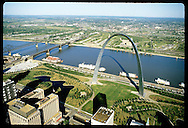 Aerial view of downtown St. Louis riverfront with Arch and riverboats. Missouri