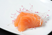 Raw Salmon as a decoration on a plate