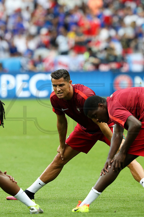 Cristiano Ronaldo from Portugal during warm-up before the match against France. Portugal won the Euro Cup beating in the final home team France at Saint Denis stadium in Paris, after winning on extra-time by 1-0.