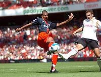 Photo: Tony Oudot.<br /> Paris Saint-Germain v Valencia. The Emirates Cup. 29/07/2007.<br /> David Ngog of Paris St Germain gets in a shot
