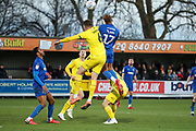 AFC Wimbledon attacker Julien Lamy (17) battles for possession with Fleetwood Town  defender Harry Souttar (6) during the EFL Sky Bet League 1 match between AFC Wimbledon and Fleetwood Town at the Cherry Red Records Stadium, Kingston, England on 8 February 2020.