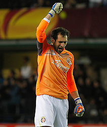 17.03.2011, El Madrigal, Villarreal, ESP, UEFA EL, FC Villarreal vs Bayer 04 Leverkusen, im Bild Villareal's  Diego Lopez celebrates goal during UEFA Europa League match.March 17,2011. . EXPA Pictures © 2011, PhotoCredit: EXPA/ Alterphotos/ Acero +++++ ATTENTION - OUT OF SPAIN / ESP +++++