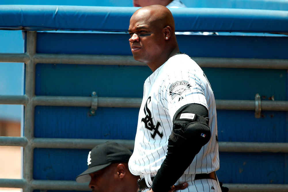 CHICAGO - 2002:  Frank Thomas of the Chicago White Sox looks on during an MLB game at Comiskey Park in Chicago, Illinois.  Thomas played for the White Sox from 1990-2005. (Photo by Ron Vesely)