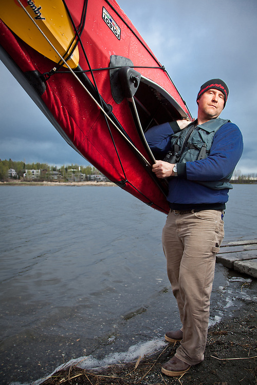 Steve Conway tests his Foldboat in Anchorage's Westchester Lagoon