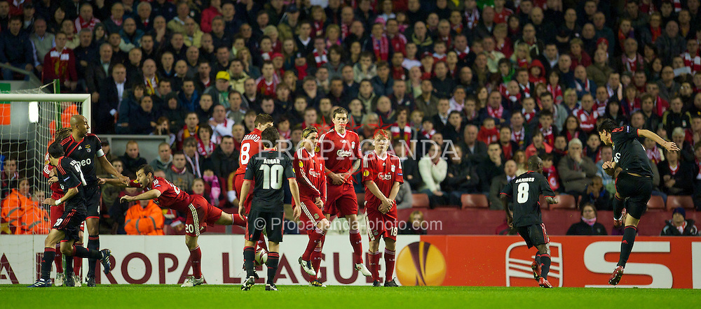 LIVERPOOL, ENGLAND - Thursday, April 8, 2010: Sport Lisboa e Benfica's Oscar Cardozo scores his side's only goal from a free-kick against Liverpool during the UEFA Europa League Quarter-Final 2nd Leg match at Anfield. (Photo by: David Rawcliffe/Propaganda)