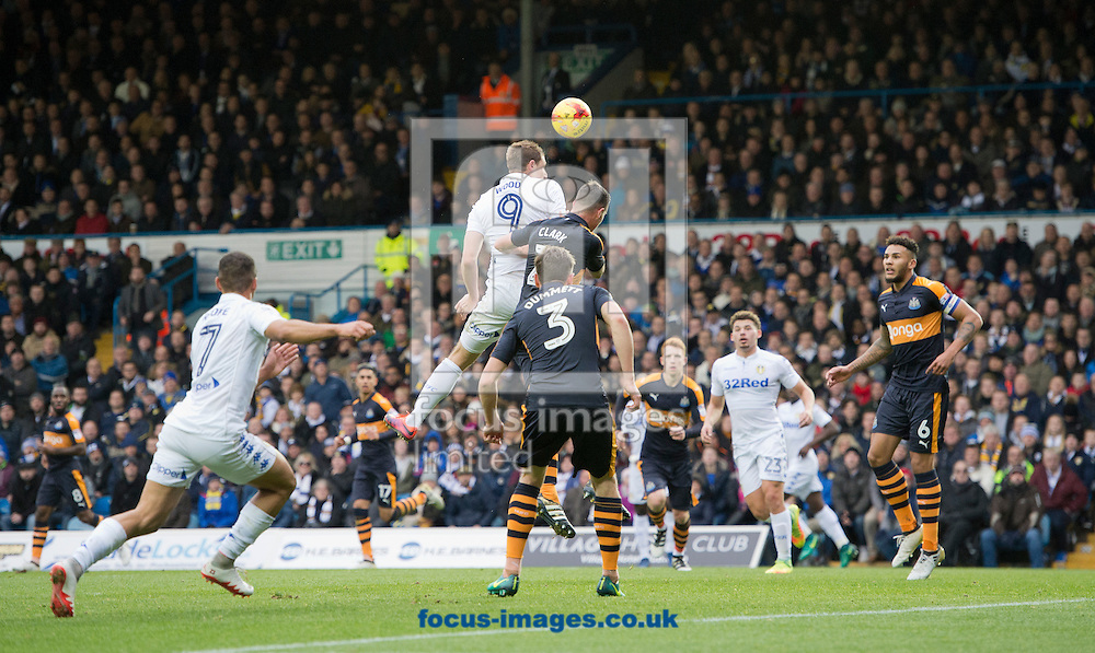 Chris Wood of Leeds United heads towards goal during the Sky Bet Championship match at Elland Road, Leeds<br /> Picture by Russell Hart/Focus Images Ltd 07791 688 420<br /> 20/11/2016