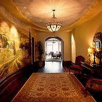 Beautiful lamps light the inside rotunda of a Country Club & Golf Resort