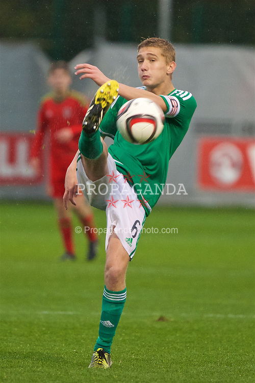 NEWPORT, WALES - Thursday, November 5, 2015: Northern Ireland's captain Luke Ferguson in action against Wales during the Under-16's Victory Shield International match at Dragon Park. (Pic by David Rawcliffe/Propaganda)