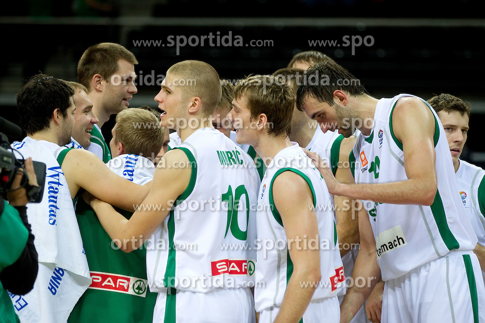 Players of Slovenia after the basketball game between National basketball teams of Slovenia and Serbia in 7th place game of FIBA Europe Eurobasket Lithuania 2011, on September 17, 2011, in Arena Zalgirio, Kaunas, Lithuania. Slovenia defeated Serbia 72 - 68 and placed 7th. (Photo by Vid Ponikvar / Sportida)