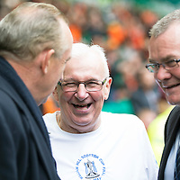 St Johnstone v Dundee United....17.05.14   William Hill Scottish Cup Final<br /> Tommy Campbell before kick off talking with Willie Young<br /> Picture by Graeme Hart.<br /> Copyright Perthshire Picture Agency<br /> Tel: 01738 623350  Mobile: 07990 594431