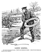 """Safety Limited. Mr Baldwin (to distressed trades). """"Don't all scream at once. I shan't have enough belts to go round."""" (cartoon showing British Prime Minister Stanley Baldwin throwing the Safeguarding Of Industries lifebelt to businesses drowning on thin ice during the InterWar era)"""
