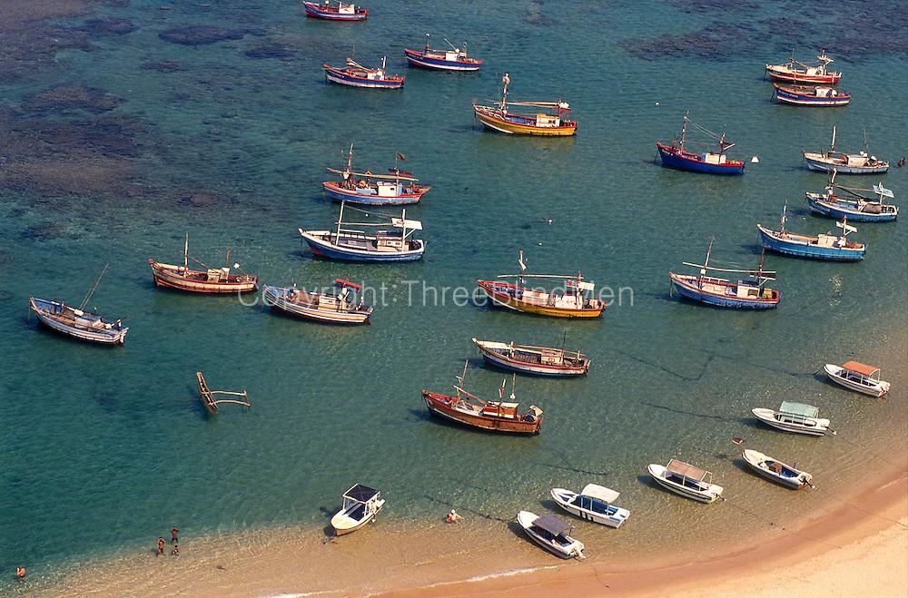 Fishing boats at Hikkaduwa. south west coast.