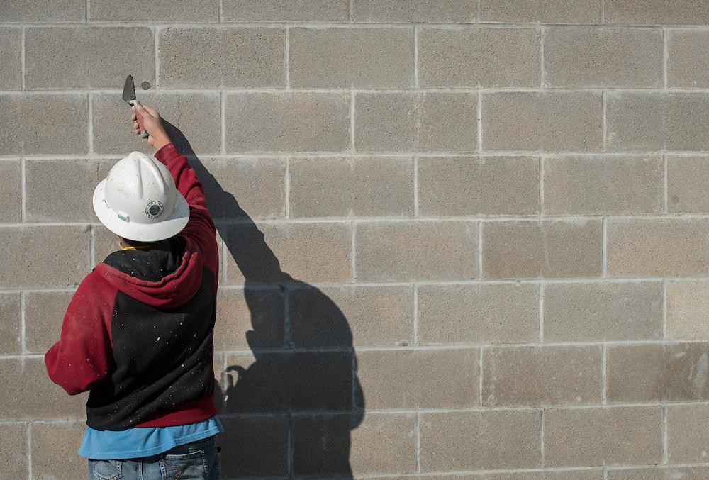 Construction crews work on the new Furr High School, January 21, 2016.
