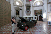 "VENICE, ITALY..50th Biennale of Venice.New Zealand at San Marcuola church..""This is the Trekka"" by Michael Stevenson. A socio-economic installation centered around the Trekka, a Land Rover imitation with a Czech Skoda motor developed in the 1950s..(Photo by Heimo Aga)"