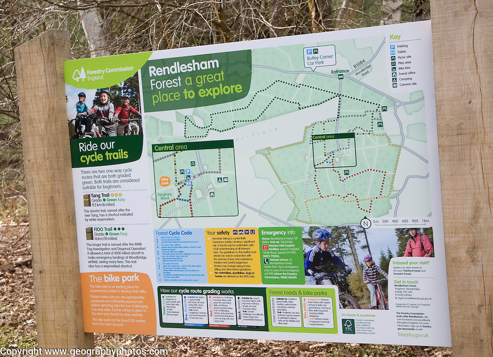 Leisure map for visitors to Rendlesham Forest, Suffolk, England