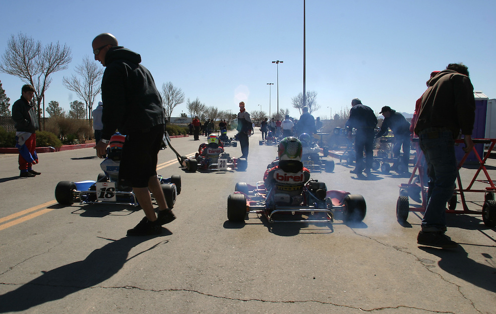 Smoke going out of the go karts before the start of the race in Primm Nevada Saturday march 3 .2007........