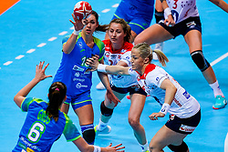 02-12-2019 JAP: Slovenia - Norway, Kumamoto<br /> Second day 24th IHF Womenís Handball World Championship, Slovenia lost the second match against Norway with 20 - 36. / Nina Zulic #18 of Slovenia, Sanna Charlotte Solberg #24 of Norway