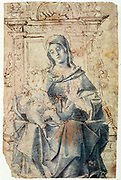 Virgin and Child'. Pen and brown ink, blue wash. Bortolomeo Montagna (c1450-1523) Italian painter and architect. Infant Jesus on Virgin's knee, hand raised in blessing.