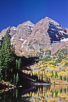 Maroon Bells of the Elk Mountains during the autumn season.  Colorado.