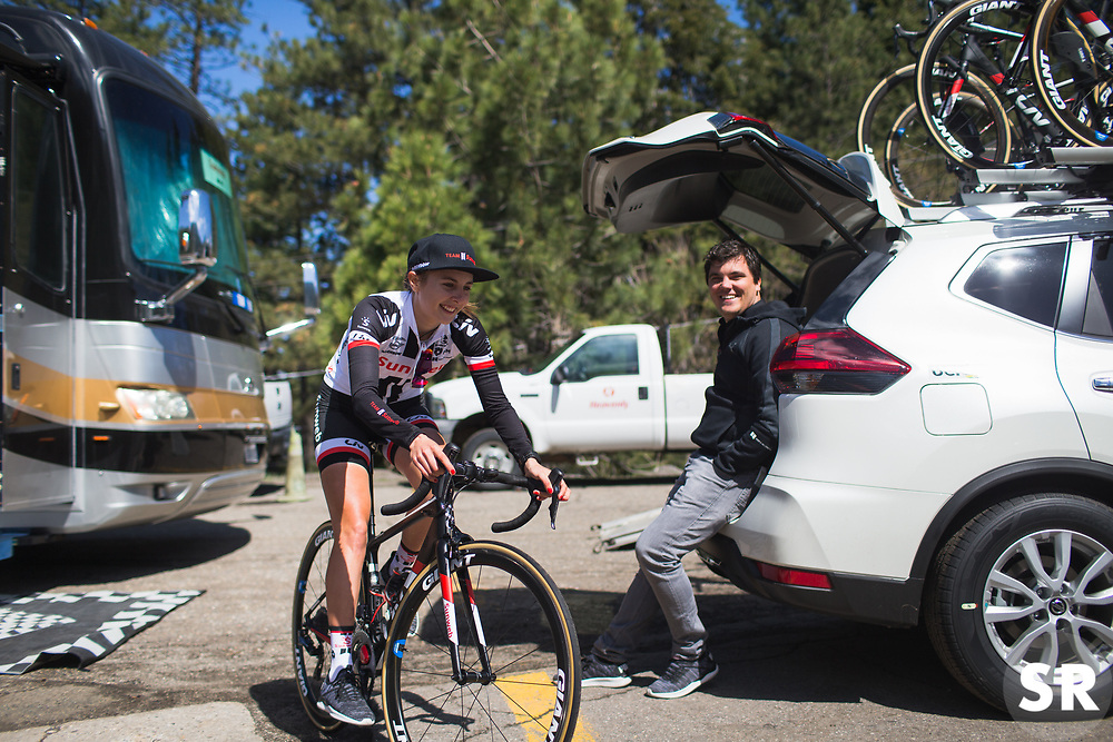 Juliette Labous (FRA) of Team Sunweb rides to the start on Stage 2 of the Amgen Tour of California - a 108 km road race, starting and finishing in South Lake Tahoe on May 18, 2018, in California, United States. (Photo by Balint Hamvas/Velofocus.com)