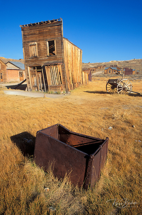Afternoon light on the Swazey Hotel and ore box on Main Street, Bodie State Historic Park (National Historic Landmark), California.
