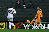 Benik Afobe of MK Dons scores his sides second goal to make the scoreline 2-0 during the Sky Bet League 1 match between Milton Keynes Dons and Colchester United at stadium:mk, Milton Keynes<br /> Picture by Richard Blaxall/Focus Images Ltd +44 7853 364624<br /> 29/11/2014