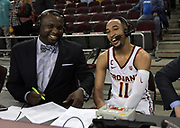 Feb 15, 2018; Los Angeles, CA, USA;  Southern California Trojans guard Jordan McLaughlin (11) is interviewed by ESPN2 analyst Corey Williams after an NCAA basketball game against the Oregon Ducks at Galen Center. USC defeated Oregon 72-70.