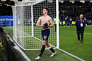 West Ham United midfielder Declan Rice (41) throws his shirt to a young West Ham United fan during the Premier League match between Burnley and West Ham United at Turf Moor, Burnley, England on 9 November 2019.