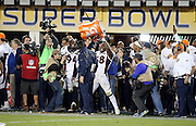 Denver Broncos outside linebacker Von Miller (58) pours a cooler full of ice and a sports drink on Denver Broncos head coach Gary Kubiak in celebration after the Broncos win the NFL Super Bowl 50 football game against the Carolina Panthers on Sunday, Feb. 7, 2016 in Santa Clara, Calif. The Broncos won the game 24-10. (©Paul Anthony Spinelli)
