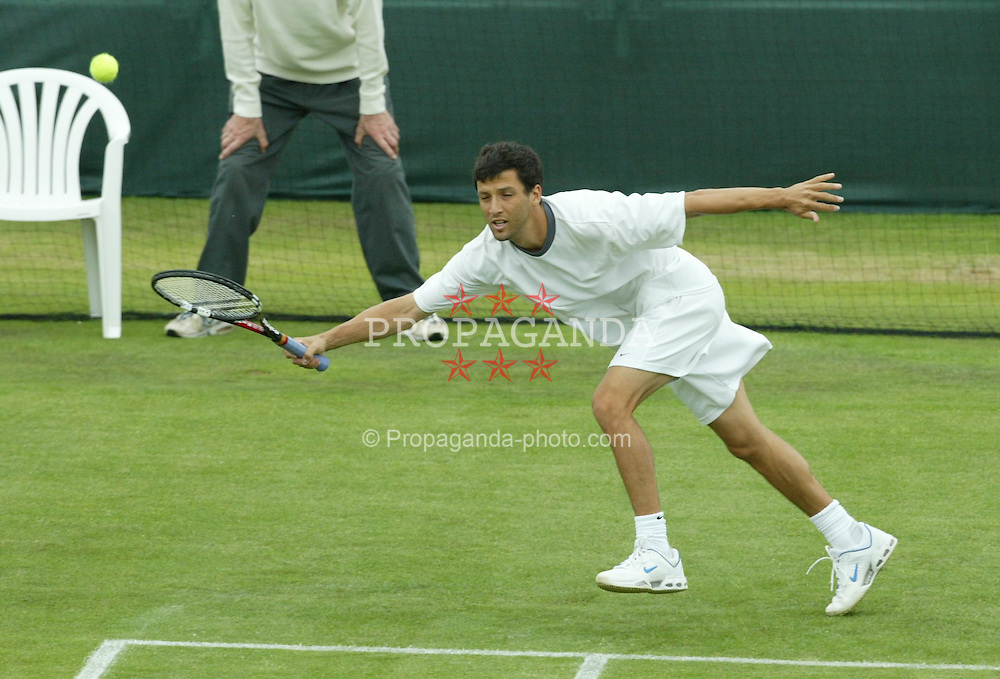 LIVERPOOL, ENGLAND - WEDNESDAY JUNE 9 2004: Paul Goldstein (USA) during the Liverpool International Tennis Tournament at Claderstones Park. (Photo by David Rawcliffe/Propaganda)